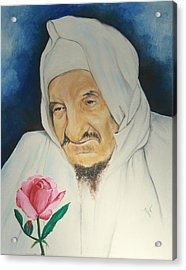 Baba Sali With Rose Acrylic Print by Miriam Leah
