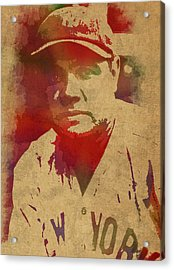 Babe Ruth Baseball Player New York Yankees Vintage Watercolor Portrait On Worn Canvas Acrylic Print by Design Turnpike