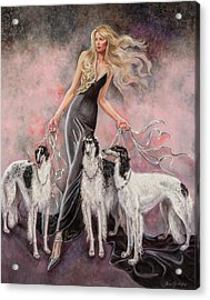 Babs With Three Borzois Acrylic Print by Barbara Tyler Ahlfield