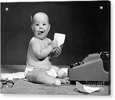 Baby Accountant, 1960s Acrylic Print by H. Armstrong Roberts/ClassicStock