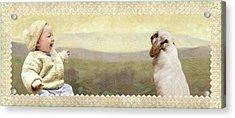 Baby And Bunny Talk Acrylic Print