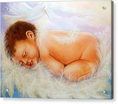 Baby Angel Feathers Acrylic Print by Joni McPherson