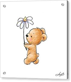 Baby Bear With Flower Acrylic Print by Anna Abramska