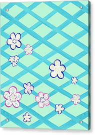 Baby Blue Flower Garden Acrylic Print by Irina Sztukowski