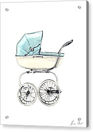 Baby Carriage In Blue - Vintage Pram English Acrylic Print by Laura Row