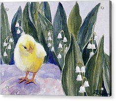 Baby Chick And Lily Of The Valley Flowers Acrylic Print