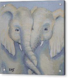 Baby Elephant Friends Acrylic Print