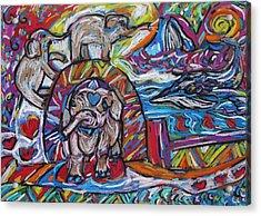 Baby Elephants By The Sea Acrylic Print