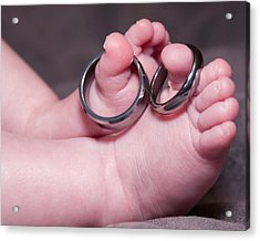 Baby Feet With Wedding Rings Acrylic Print