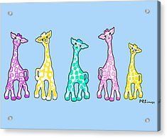 Baby Giraffes In A Row Pastels Acrylic Print