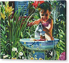 Baby In The Birtbath Acrylic Print by Maureen Dean