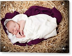 Baby Jesus Nativity Acrylic Print by Cindy Singleton