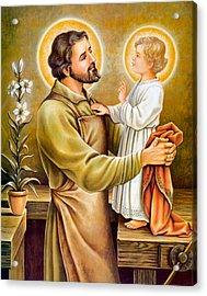 Baby Jesus Talking To Joseph Acrylic Print by Munir Alawi