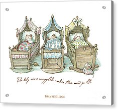 The Brambly Hedge Baby Mice Snuggle In Their Cots Acrylic Print
