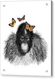 Baby Monkey With Orange Butterflies Acrylic Print