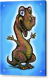 Acrylic Print featuring the painting Baby T-rex Blue by Kevin Middleton