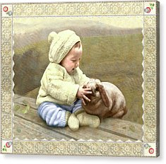Baby Touches Bunny's Nose Acrylic Print