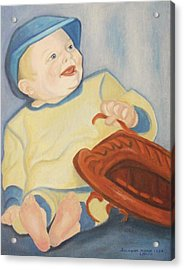 Baby With Baseball Glove Acrylic Print by Suzanne  Marie Leclair