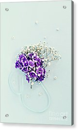 Acrylic Print featuring the photograph Baby's Breath And Violets Bouquet by Stephanie Frey