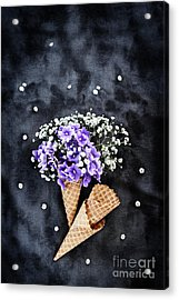 Acrylic Print featuring the photograph Baby's Breath And Violets Ice Cream Cones by Stephanie Frey