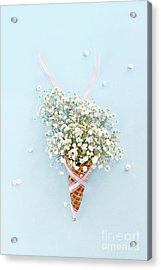 Acrylic Print featuring the photograph Baby's Breath Ice Cream Cone by Stephanie Frey