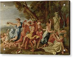 Bacchanal Before A Herm Acrylic Print by Nicolas Poussin