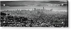 Back And White View Of Downtown San Francisco In A Foggy Day Acrylic Print