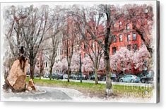 Back Bay Boston Watercolor Acrylic Print