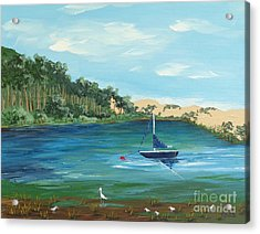 Acrylic Print featuring the painting Back Bay From Back Bay Inn Los Osos Ca by Katherine Young-Beck