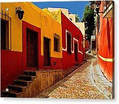 Back Street Guanajuato Acrylic Print by Mexicolors Art Photography