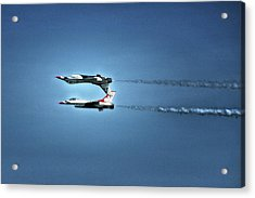 Acrylic Print featuring the photograph Back To Back Thunderbirds Over The Beach by Bill Swartwout Fine Art Photography