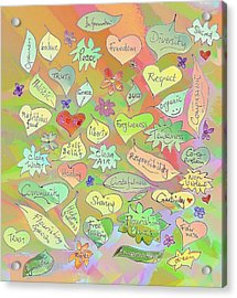 Back To The Garden Leaves, Hearts, Flowers, With Words Acrylic Print