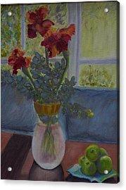 Backlit Irises Acrylic Print by Bonnie Hanly