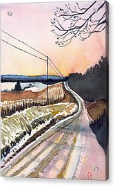 Acrylic Print featuring the painting Backlit Roads by Katherine Miller