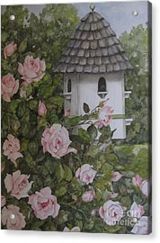 Backyard Birdhouse Acrylic Print by Karen Olson