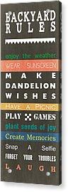 Backyard Rules Acrylic Print by Linda Woods