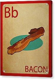 Bacon Vintage Style Flashcard Acrylic Print by Mynameisjz JZ