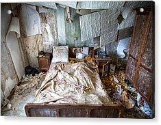 Bad Dream Bedroom - Abandoned House  Acrylic Print by Dirk Ercken
