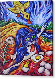 Bad Kitty Gets Caught Acrylic Print by Dianne  Connolly