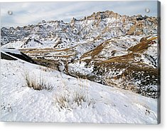 Badlands In Snow Acrylic Print