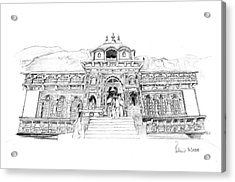 Acrylic Print featuring the drawing Badrinath by Padamvir Singh