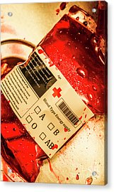 Bag Of Blood In Stainless Steel Surgical Ward Acrylic Print by Jorgo Photography - Wall Art Gallery