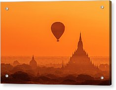Bagan Pagodas And Hot Air Balloon Acrylic Print