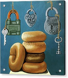 Bagels And Locks Acrylic Print by Linda Apple