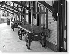 Baggage Carts Bw Acrylic Print