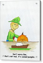 Baggs And Boo Canned Pumpkin Acrylic Print