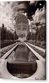 Bahai Temple Reflecting Pool Acrylic Print by Steve Gadomski