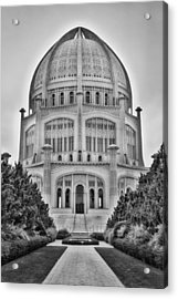 Acrylic Print featuring the photograph Baha'i Temple - Wilmette - Illinois - Vertical Black And White by Photography  By Sai