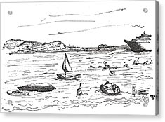 Acrylic Print featuring the drawing bahamasI by Fanny Diaz