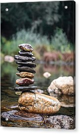 Balancing Zen Stones In Countryside River I Acrylic Print by Marco Oliveira